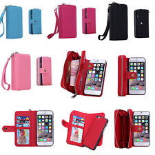 Purse Zipper Wallet Case Card Cash Holder Removable Case For iPhone & Samsung