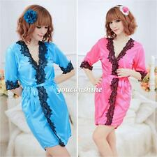 Sexy Satin Flower Lace Bath Robe Sleepwear Lingerie Night Dress G-string Pajamas
