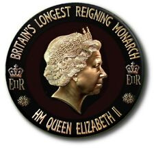 HM QUEEN ELIZABETH II MILESTONE SOUVENIRS INC. LONGEST REIGN MONARCH 55MM BADGES