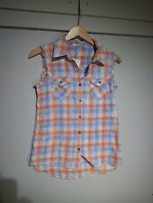 Vanilla Star Cut Off Sleeve Plaid Button Front Vest NWT Z16