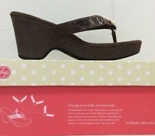 Lindsay Phillips Brenna Brown Canvas Platform Wedge Shoes Sandal New In Box