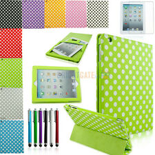 Polka Dot Tri 3 Fold PU Leather Smart Case Cover Stand for iPad 2 3G 4th  +Gifts