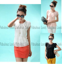 Women's Multi Layers Short Sleeve Chiffon Blouse/Top