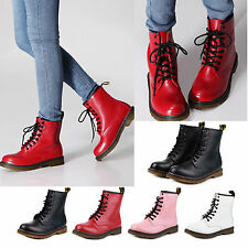 New Women's Winter Combat Boots Leather Military Lace Up Motorcycle Shoes
