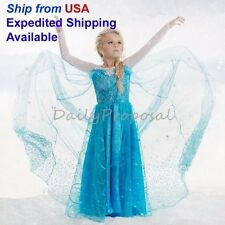 FE11 Disney Frozen Inspired Lace Elsa Costume Dress Girl Cosplay Party 4-12 NW