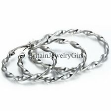 Twisted Large Round Circle Womens Stainless Steel Dangle Hoop Earring 1Pair