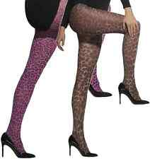 Womens Ladies Sexy Brown Pink Leopard Animal Print Fancy Dress Costume Tights