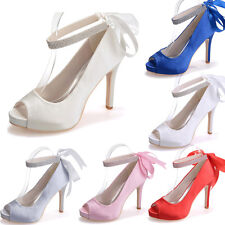 Wedding Bridal Pumps Heels Shoes Party Evening Rhinestone Open Peep Toe Shoes 8