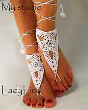 Handmade wedding foot jewelry, Victorian Lace, Barefoot Sandles, Cotton