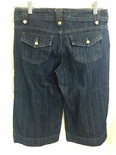 GAP Low Rise Crop Women Size 4 Wide Leg Denim Jean Herringbone Back Flap Pockets