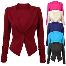 Womens LONG SLEEVE RUCHED BLAZER Button Front Panel Slim Fit Jacket Size 8-14