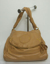 Beige Hobo Style Large Handbag Gold Studded Faux Leather Zippered Fold over Flap