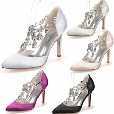 Fashion Womens Crystal Pageant Pointed Toe Shoes Stiletto Heel Bridal Shoes 8 9