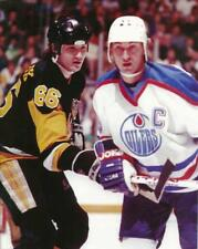 NHL Hockey Wayne Gretzky & Mario Lemieux battling for puck Photo Picture