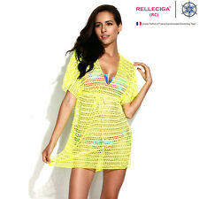 RELLECIGA Sexy Women Lady Beachwear Bikini Cover Up Yellow Swimwear Beach Dress