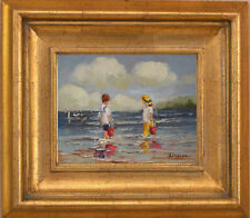 B.Chavez_Summer Beach With Kids_Original Oil Painting+Wood Frame