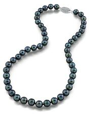 14K Gold 7.5-8.0mm Japanese Akoya Black Cultured Pearl Necklace - AA+ Quality
