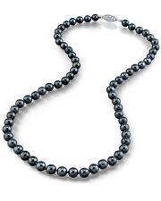14K Gold 5.5-6.0mm Japanese Akoya Black Cultured Pearl Necklace - AA+ Quality
