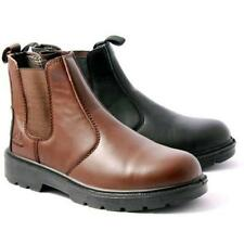 MENS GROUNDWORK STEEL TOE CAP SAFETY CHELSEA BOOTS LEATHER ANKLE HIKING SHOES