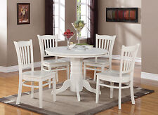 """42"""" ROUND SHELTON TABLE DINING ROOM KITCHEN SET WITH WOODEN SEAT IN LINEN WHITE"""