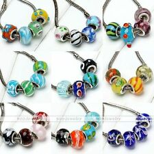 10x Murano Lampwork Glass Colorful European Bead Fit Charms Snake Chain Bracelet