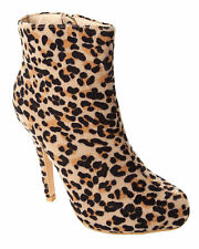 WOMENS LEOPARD PRINT PLATFORM HIGH HEEL ZIP ANKLE BOOTS SHOES LADIES UK SIZE 3-8