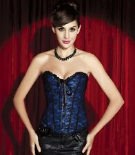 Victorian Sweetheart Lace Overlay Lace Up Overbust Brocade Satin Corset Bustier