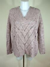 FAMOUS CATALOG OVERSIZED WOOL BLEND DOUBLE V-NECK SWEATER PALE ROSE SZ XS, L