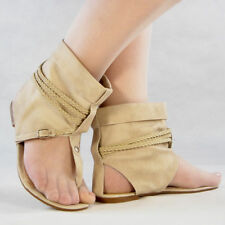 BEIGE Suede Ankle Strap Flat  Shoes CHESS-3 Sz.7.5