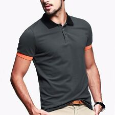 Mens Slim Fitted Short Sleeve Lapel Casual Polo Shirt Solid Basic Tee M L XL XXL
