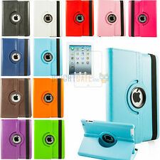 For New iPad 4 4G 3 3rd 2 360 Rotating Magnetic Leather PU Case Smart Cover+Film