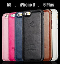 Luxury Hard Aluminum Metal Frame Leather Back Case Cover For iPhone 6 5 5S 6Plus
