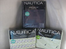 NEW NAUTICA BOAT STRIPE TWIN ANCHOR SOLID CADET QUEEN SHEET SET NAVY GREEN WHITE