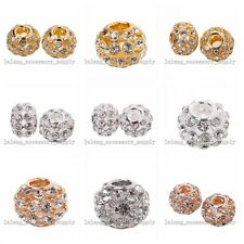 10pc Clear Rhinestone Copper Charms Spacer Beads Fit European Bracelet 4 Color L