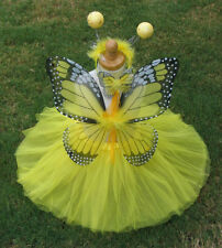 YELLOW Monarch Butterfly Costume Wings Wand Set Halloween Girl 2T-6T