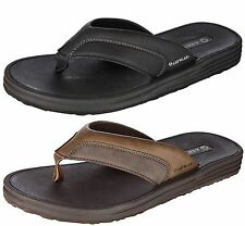 MENS LEATHER FLIP FLOPS SANDALS THONGS ~ BLACK OR BROWN ~ SIZE 12 BRAND NEW
