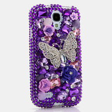 FOR SAMSUNG GALAXY S6 NOTE 5 CRYSTALS BLING CASE COVER SILVER BUTTERFLY PURPLE