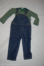 TODDLER BOYS OUTFIT L/S Green Beige Stripe Shirt DENIM BIB OVERALLS 12 18 24 MO