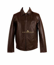 Classic Collar Brown Mens Smart  Classic Style Real Soft Skipper Leather Jacket