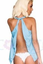 Coqueta Sport Sexy Backless Tank Top Fashion Knotted Tunic Shirt Halter BLUE