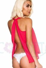 Coqueta Tank Top Sexy Backless Fashion Knotted Tunic Sport Shirt Halter CORAL