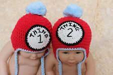 New Cute Handmade Cotton Twins Baby Child Knit Hat Cap Newborn Photo Prop 2 Hats