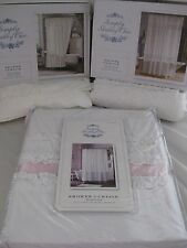 HTF SIMPLY SHABBY CHIC WHITE MESHED LACE DOBBY RUFFLED SHOWER CURTAIN - 3 STYLES