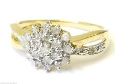 9CT YELLOW GOLD 0.25CT DIAMOND CROSSOVER CLUSTER WEDDING ENGAGEMENT RING! NEW!