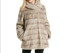 Jones New York Women's Winter heavy faux Fur mink Swing Coat jacket size L XL 1X