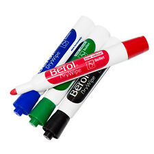 4 Berol Drywipe Marker Board Pens 4 Assorted Colours Pack Round Reversible Tips