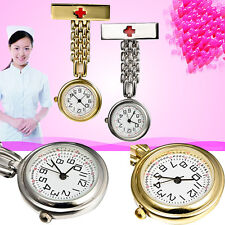 Round dial Red Cross Nurse Clip Fob Brooch Pendant Hanging Pocket Quartz Watch