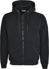 Mens Plain Warm Brushed Zip-up Fleece Hoody Hooded Sweatshirt Jacket  S-XXL