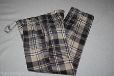 Mens FLEECE PJ Pants BEIGE BLACK GRAY PLAID Sleep M 32-34 L 36-38 XL40-42 XXL