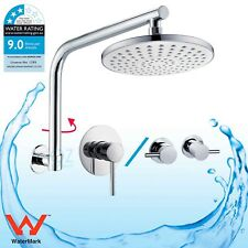 "Bathroom 8"" Rainfall Shower Head Rose Brass Round Adjustable Wall Arm Mixer Tap"